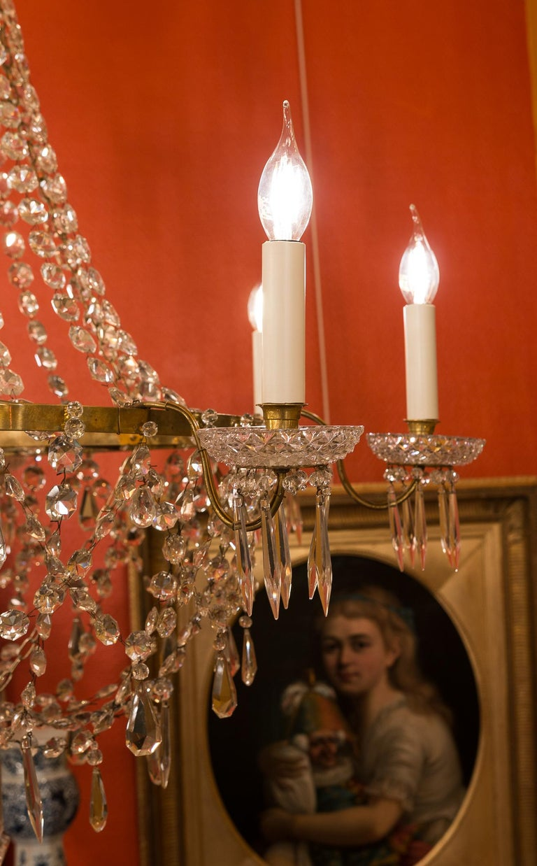 French Empire Style, Gilt Bronze and Baccarat Crystal Chandelier, circa 1890 For Sale 3