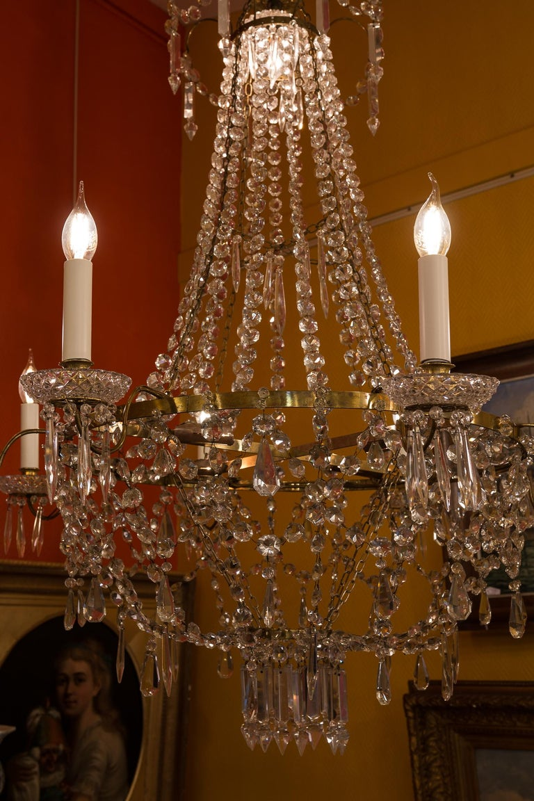 French Empire Style, Gilt Bronze and Baccarat Crystal Chandelier, circa 1890 For Sale 4
