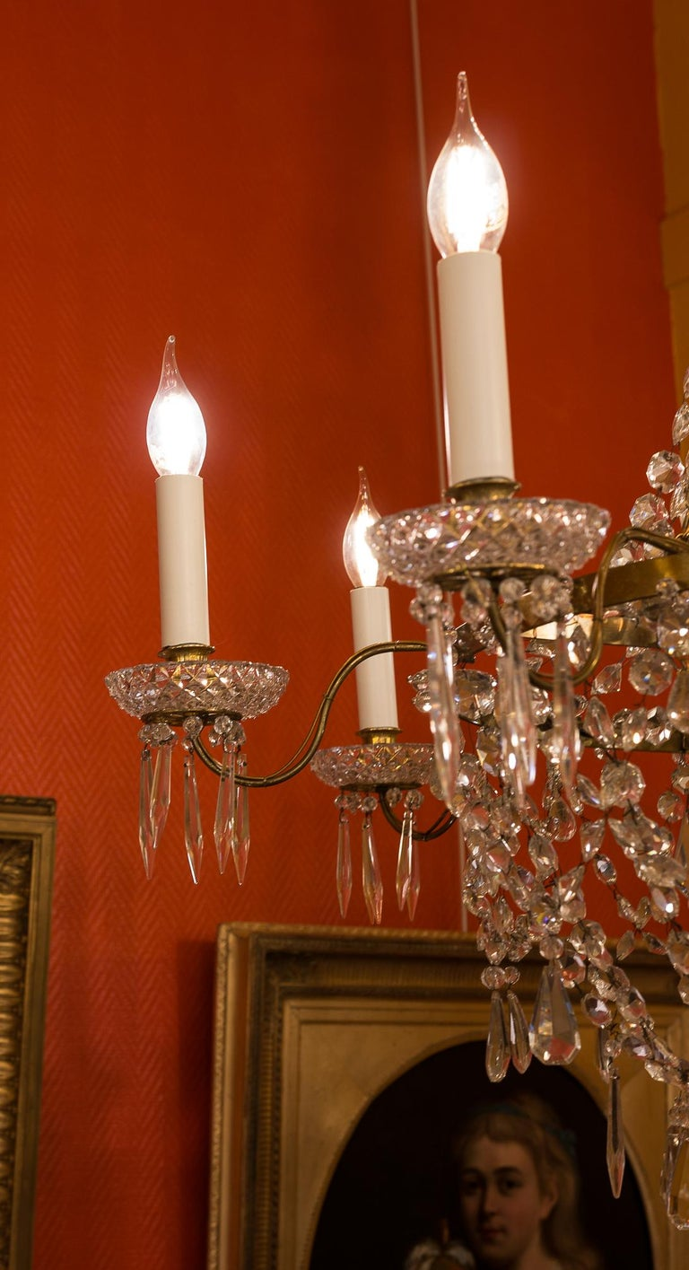 French Empire Style, Gilt Bronze and Baccarat Crystal Chandelier, circa 1890 For Sale 5