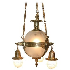 French Empire Style Gilt Bronze and Glass Spherical Chandelier
