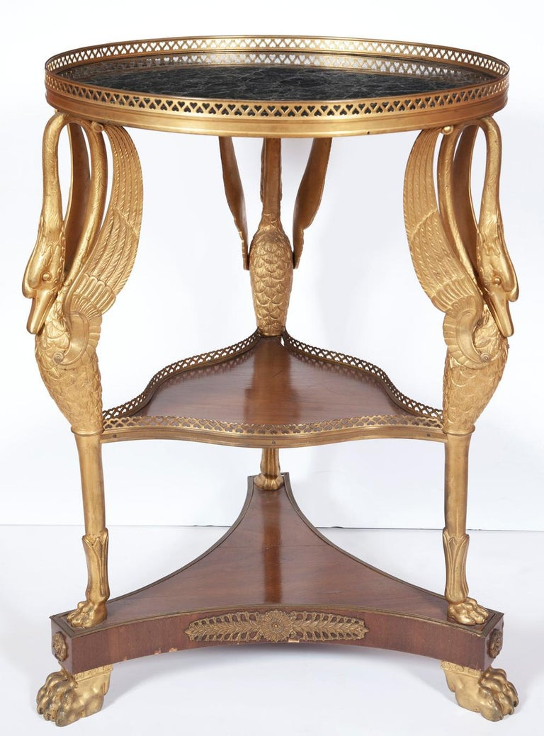 Empire style 19th century French mahogany and gilt-bronze figural swan motif marble top Gueridon