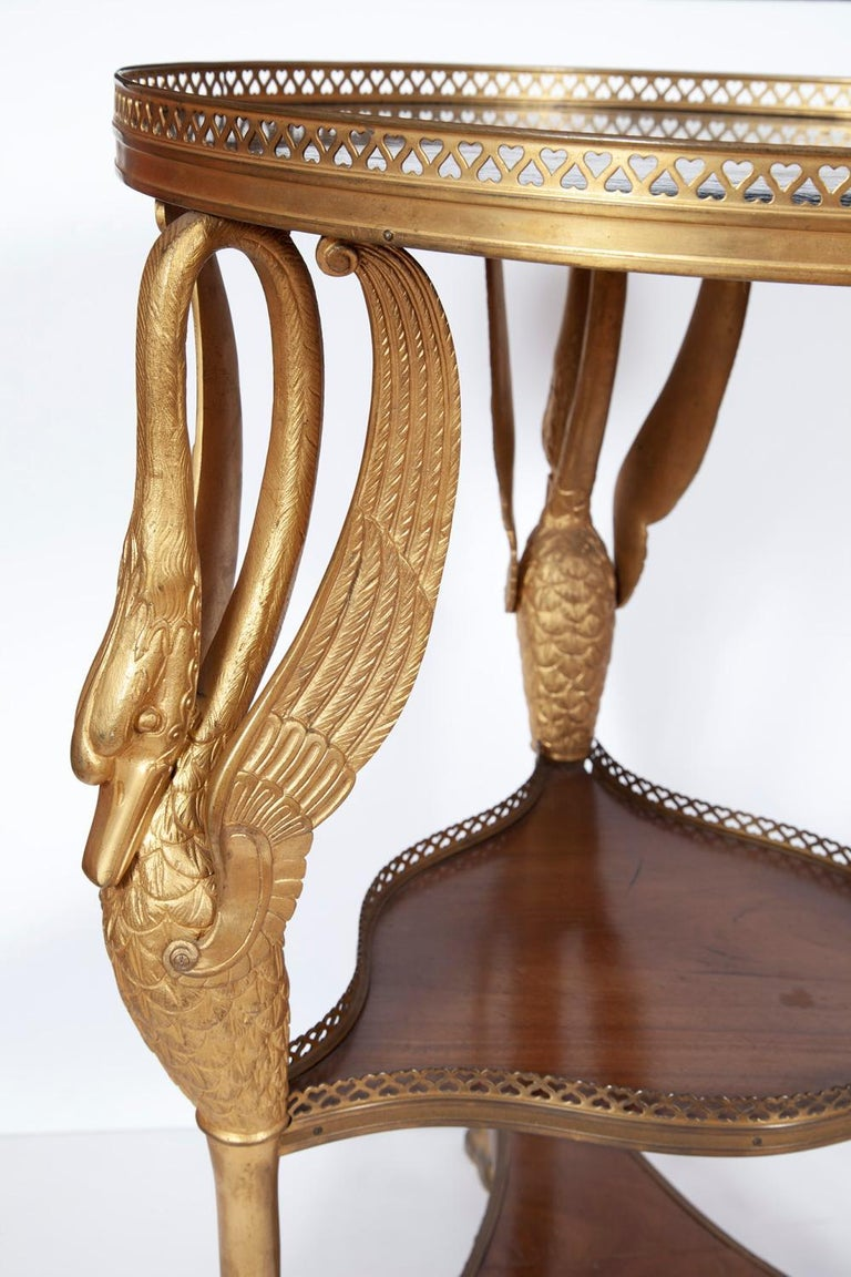 French Empire Style Gilt Bronze and Mahogany Marble-Top Gueridon Table In Good Condition For Sale In New York, NY