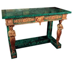 French Empire Style Gilt Bronze and Malachite Console