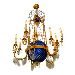 A Russian Empire Style Gilt Bronze Crystal and Blue Glass Globe Chandelier