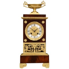 French Empire Style Gilt Metal Mounted Mahogany Mantel Clock