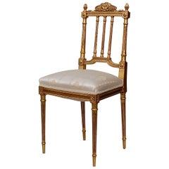 Französische Empire Stil vergoldeter Stuhl, Anfang des 20ten Jahrhunderts, Frankreich