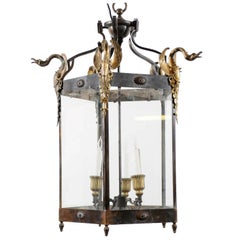 French Empire Style Hexagonal Lantern with Bronze Swans Mounts