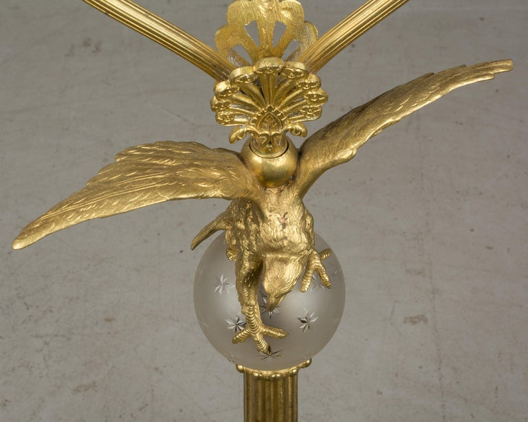 French Empire Style Lamp with Bronze Eagle For Sale 5
