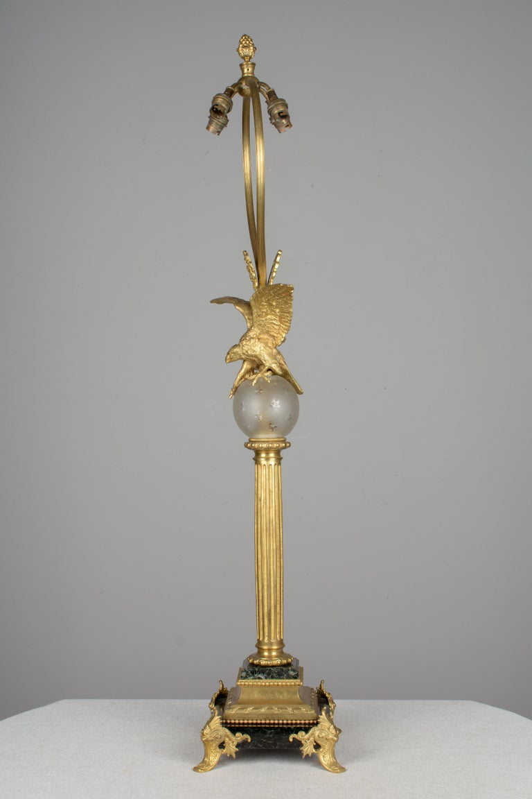 Glass French Empire Style Lamp with Bronze Eagle For Sale