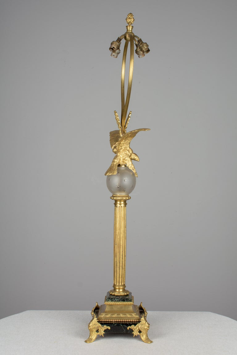 French Empire Style Lamp with Bronze Eagle For Sale 1