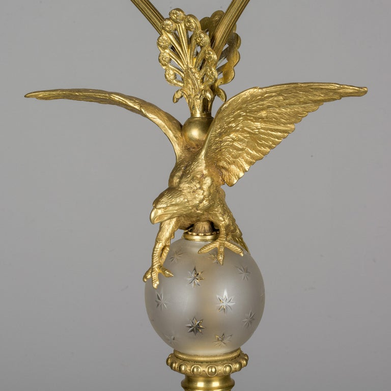 French Empire Style Lamp with Bronze Eagle For Sale 3