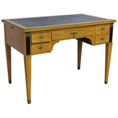 French Empire Style Brass Bound Leather Top Writing Table Desk