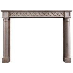 French Empire Style Limestone Fireplace