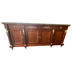 French Empire Style Mable-Top Mahogany Sideboard