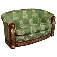 French Empire Style Mahogany and Brass Figural Settee Sofa Couch, circa 1950
