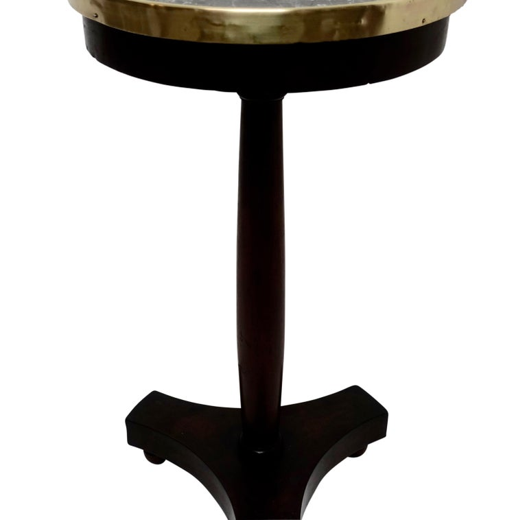 French Empire Style Mahogany and Marble Candle Stand Side Table, circa 1840 For Sale 1