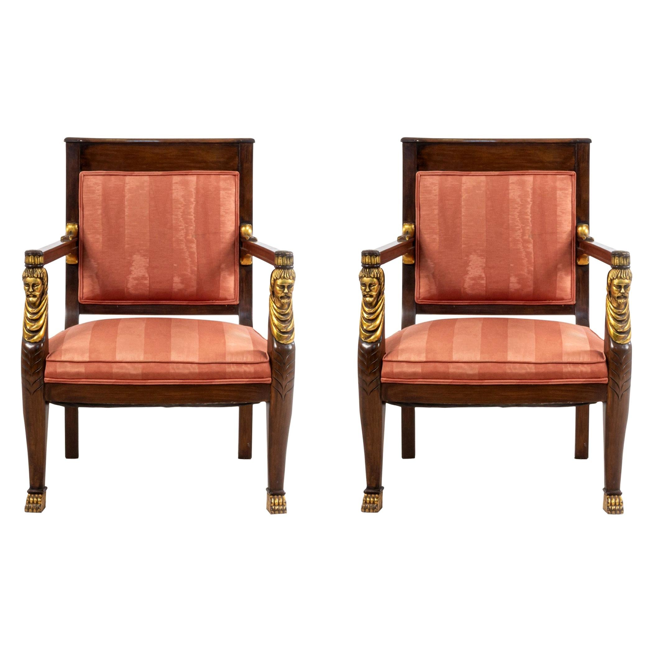 French Empire Style Mahogany and Pink Upholstered Armchairs