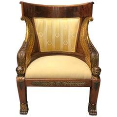 French Empire Style Mahogany Armchair, 19th Century
