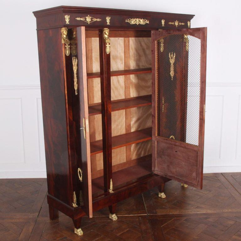 20th Century French Empire-Style Mahogany Bookcase For Sale