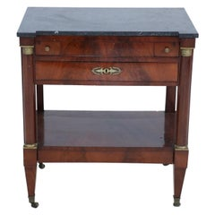 French Empire Style Mahogany Table with Marble Top and Ormolu Mounts