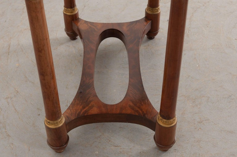Cast French Empire Style Mahogany Table with Marble Top For Sale