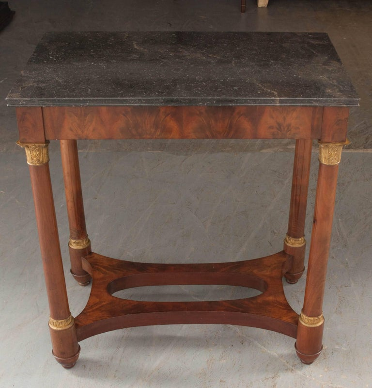 French Empire Style Mahogany Table with Marble Top For Sale 3