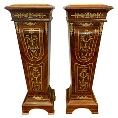 French Empire Style Marble-Top and Bronze Ormolu Pedestal Stands Columns