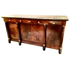 French Empire Style Marble-Top Mahogany Sideboard/Buffet