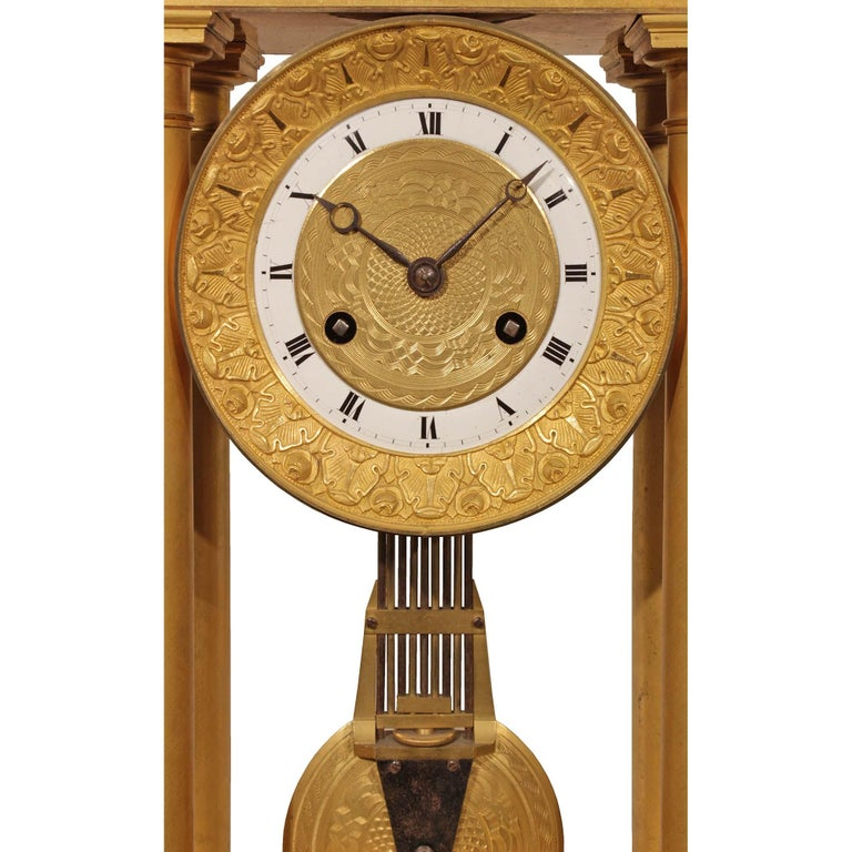 French Empire Style Mid-19th Century Ormolu Clock In Excellent Condition For Sale In West Palm Beach, FL