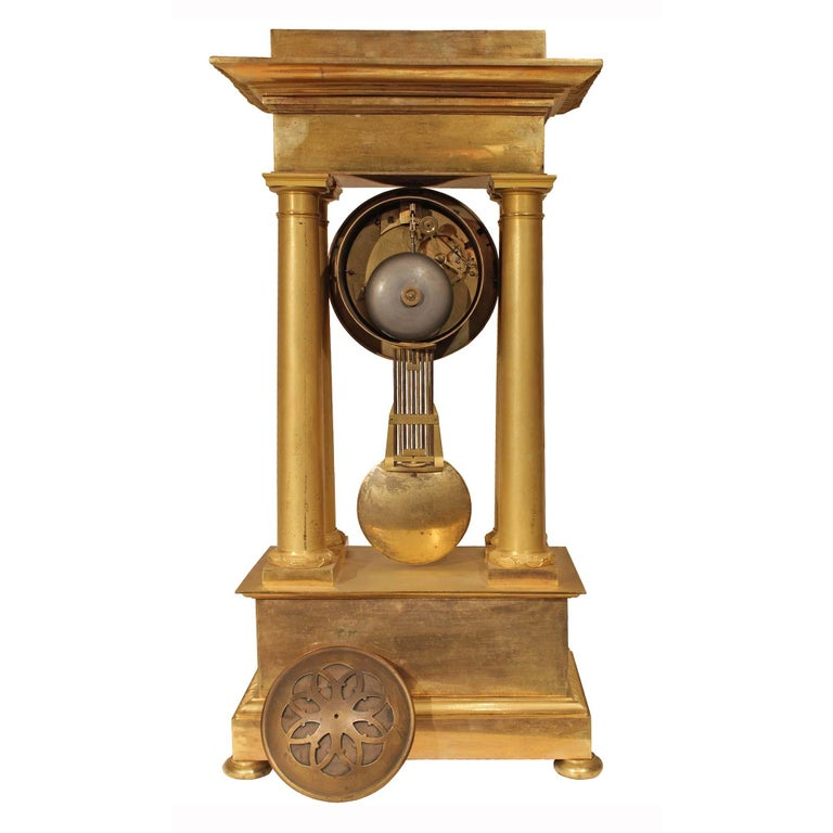 French Empire Style Mid-19th Century Ormolu Clock For Sale 1