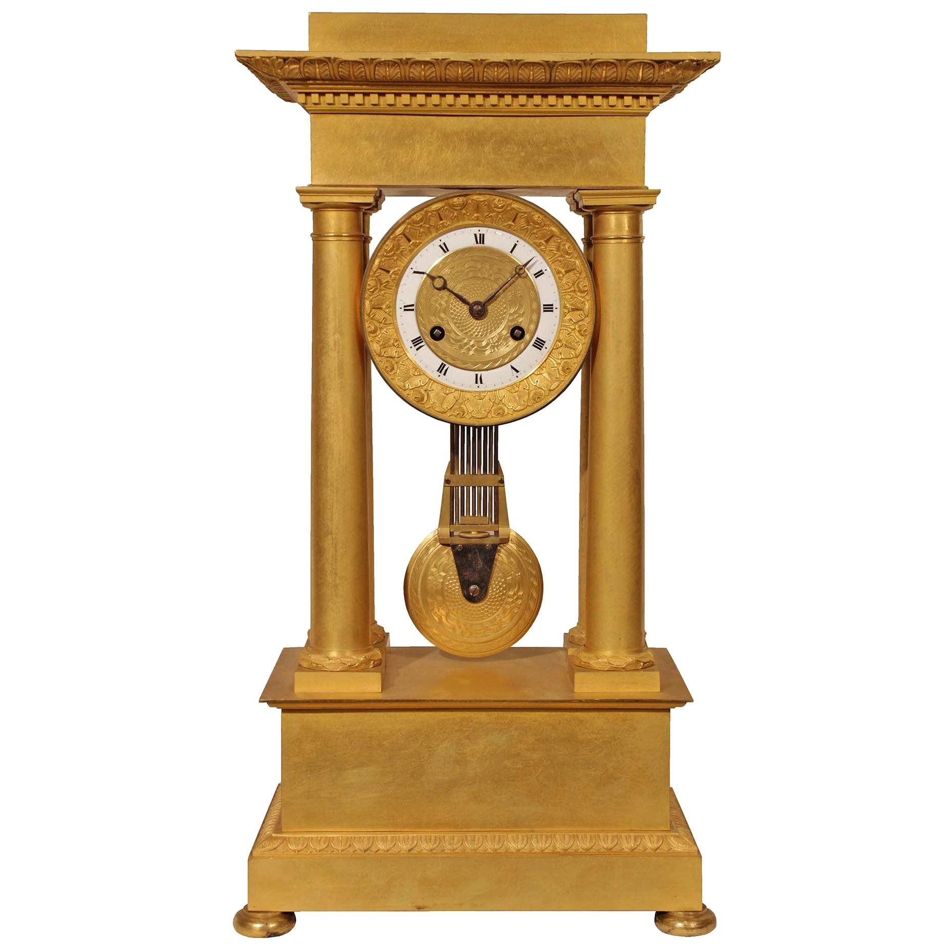 French Empire Style Mid-19th Century Ormolu Clock