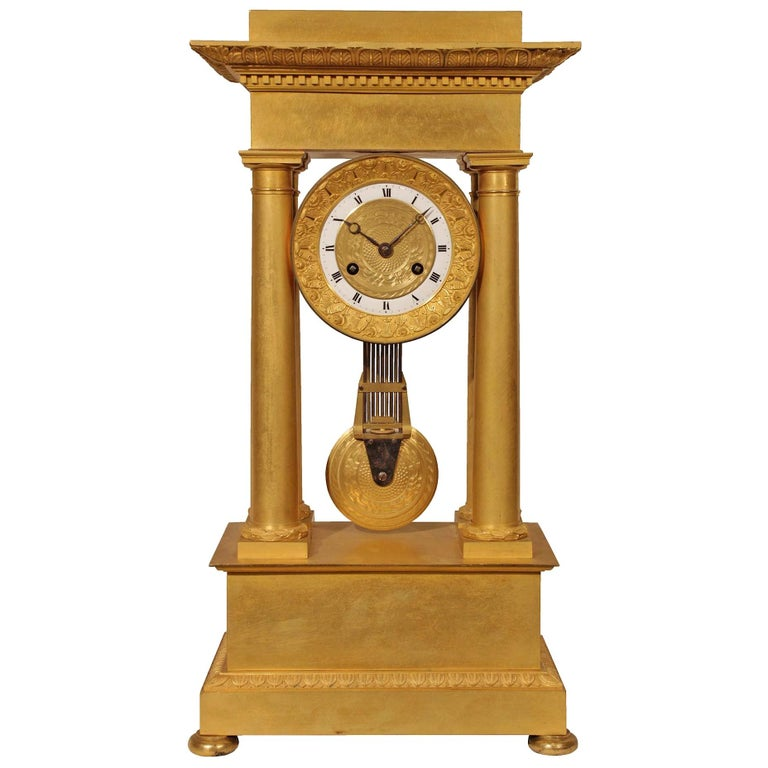 French Empire Style Mid-19th Century Ormolu Clock For Sale