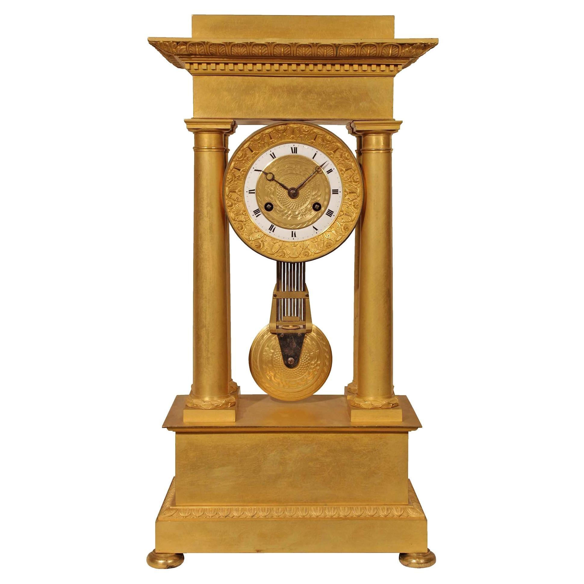 French Empire Style Mid-19th Century Ormolu Clock