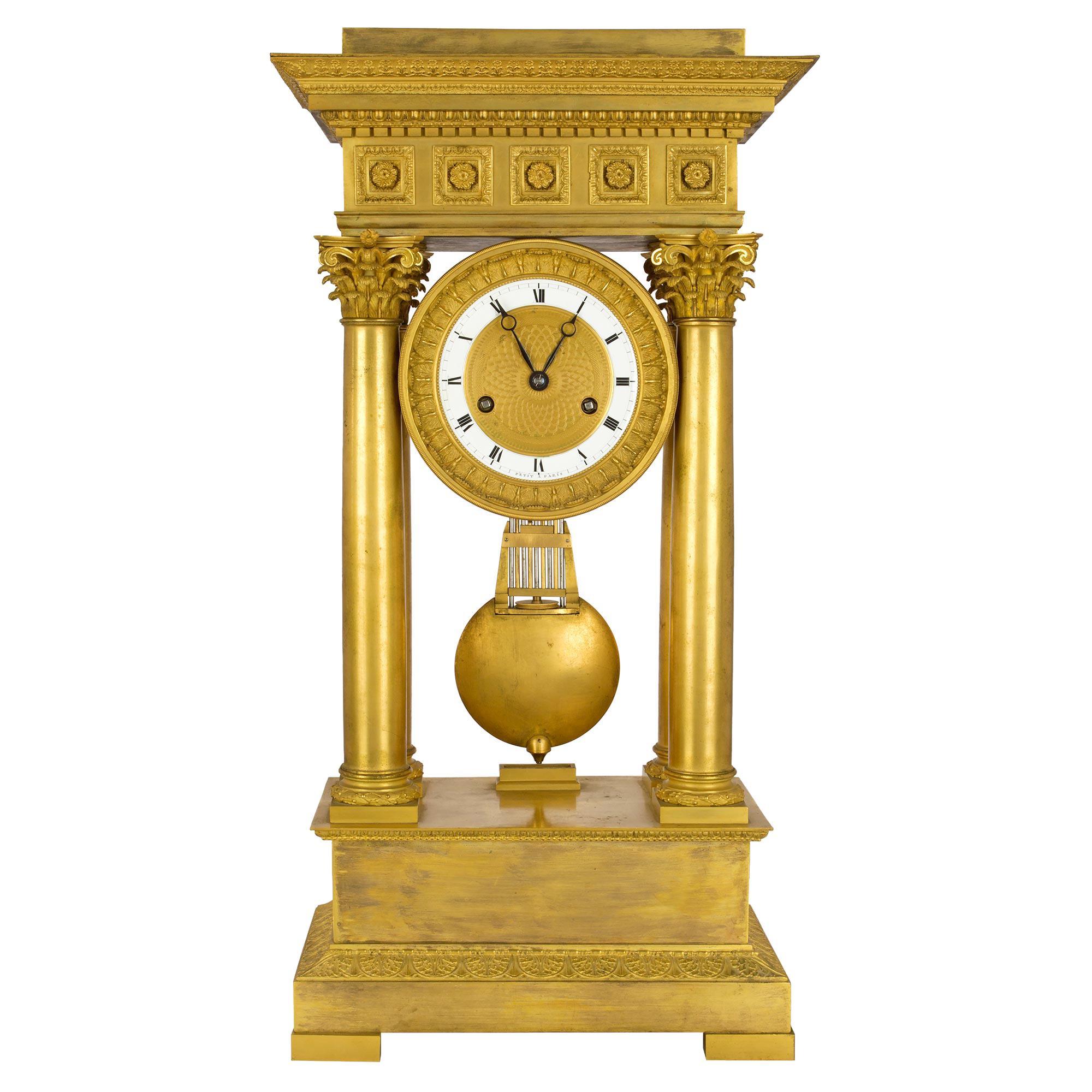 French Empire Style Mid-19th Century Ormolu Clock, Signed 'petit a Paris'