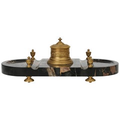 French Empire Style Ormolu Mounted Marble Desk Stand