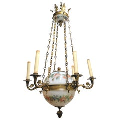 French Empire Style Painted Opaline Glass and Bronze Chandelier