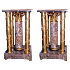 French Empire Style Pair Amethyst Pedestal