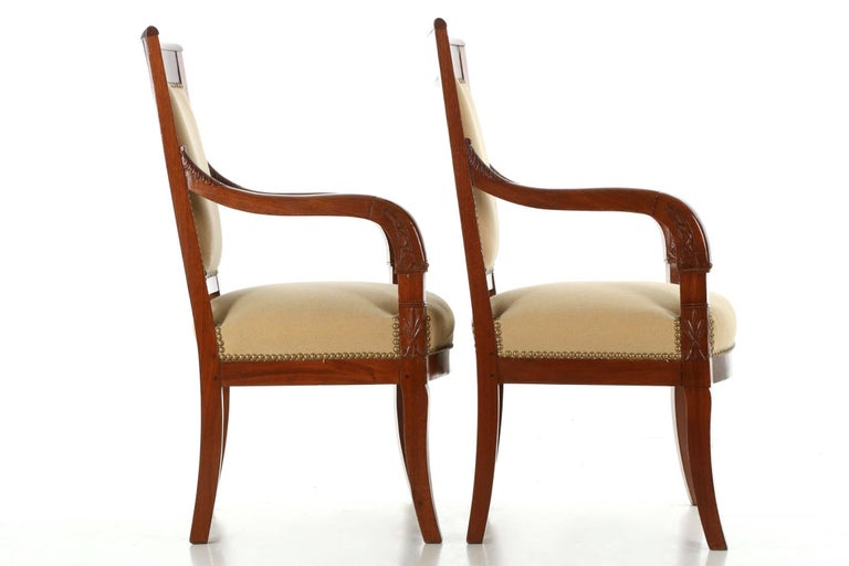European French Empire Style Pair of Antique Mahogany Armchairs, 20th Century For Sale