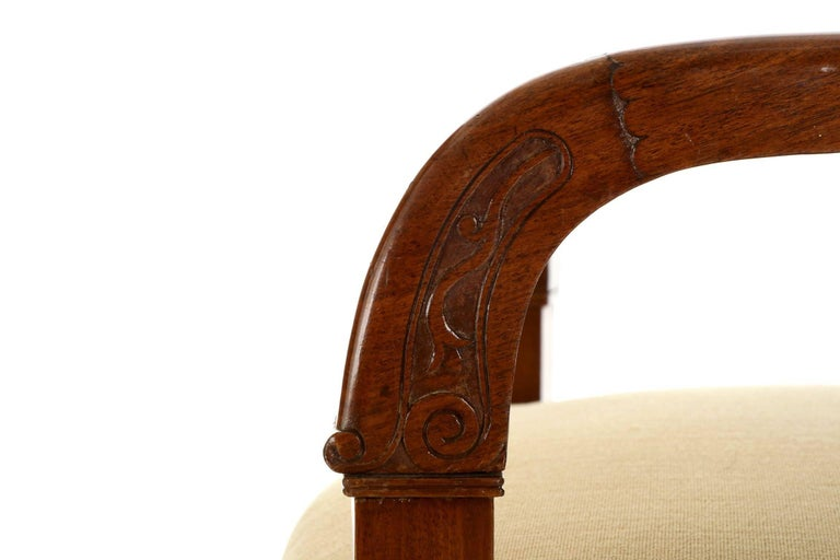 French Empire Style Pair of Antique Mahogany Armchairs, 20th Century For Sale 4