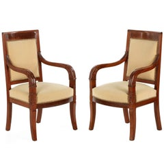 French Empire Style Pair of Antique Mahogany Armchairs, 20th Century