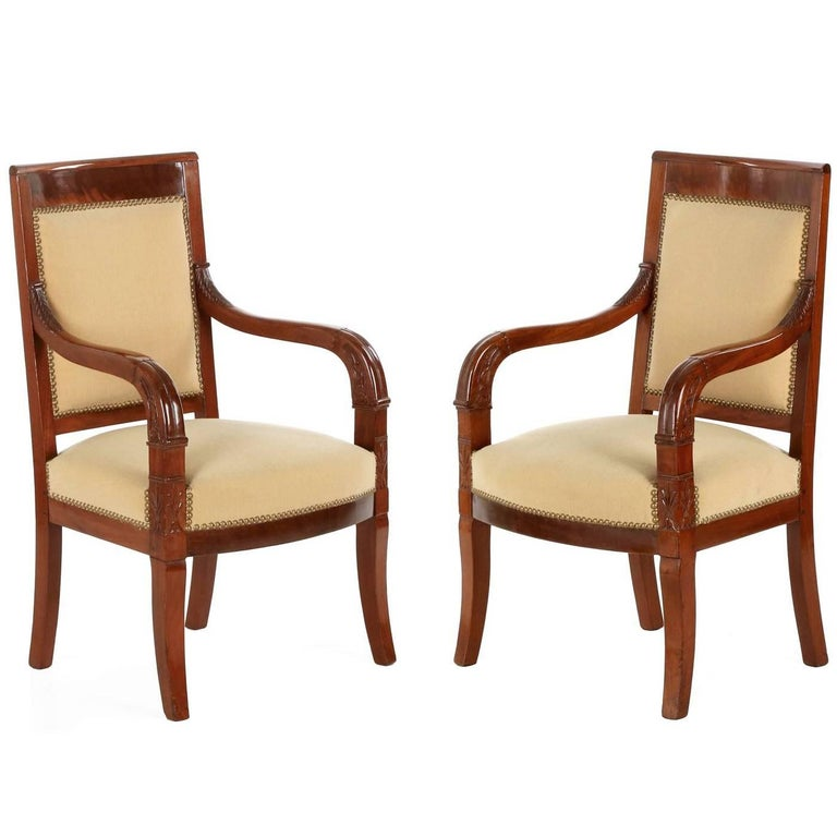 French Empire Style Pair of Antique Mahogany Armchairs, 20th Century For Sale