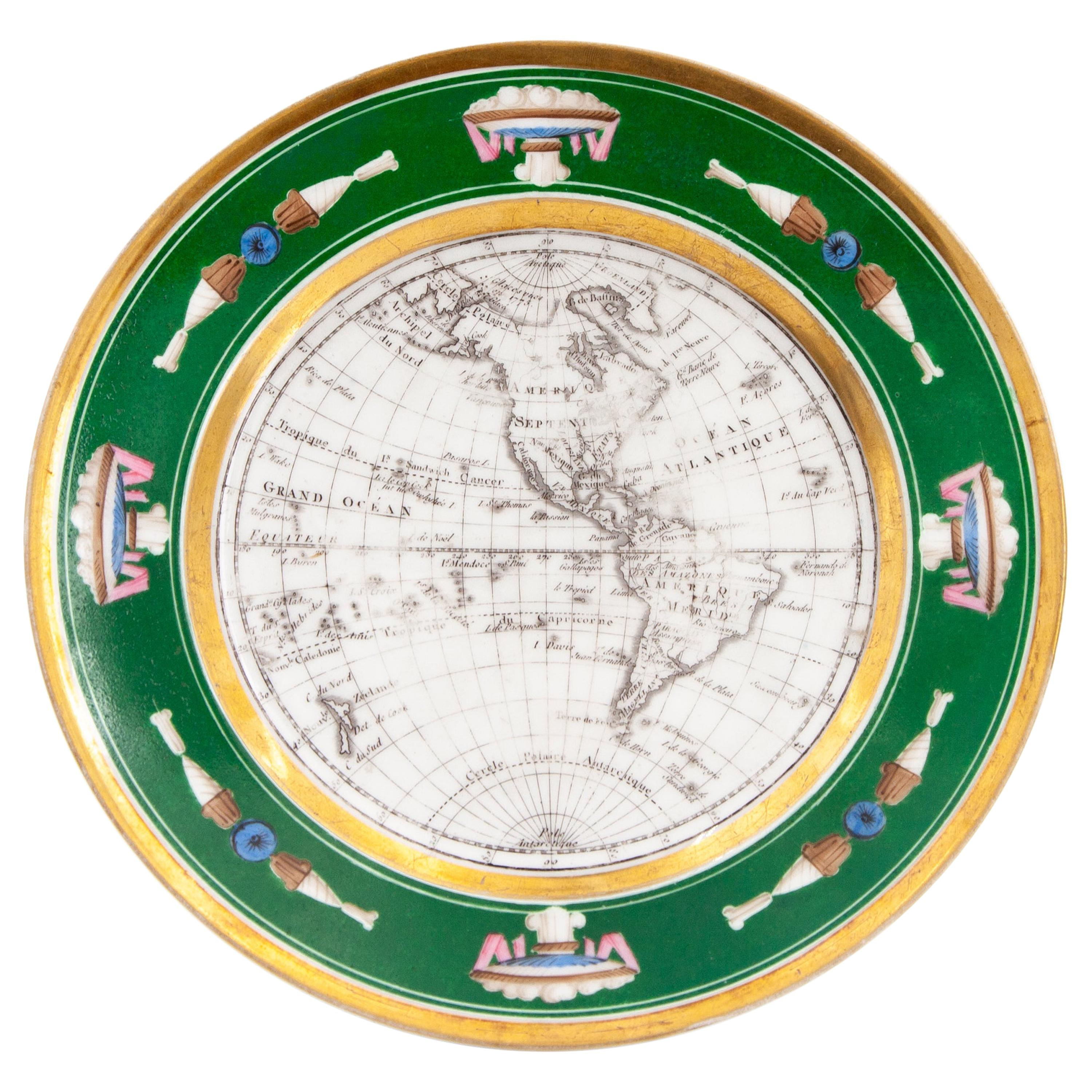 French Empire Style Porcelain Cartographic Cabinet Plate