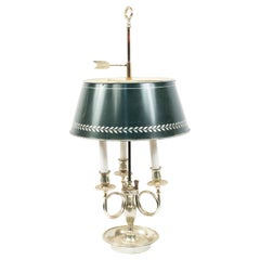 French Empire Style Silver Plate Table Lamps