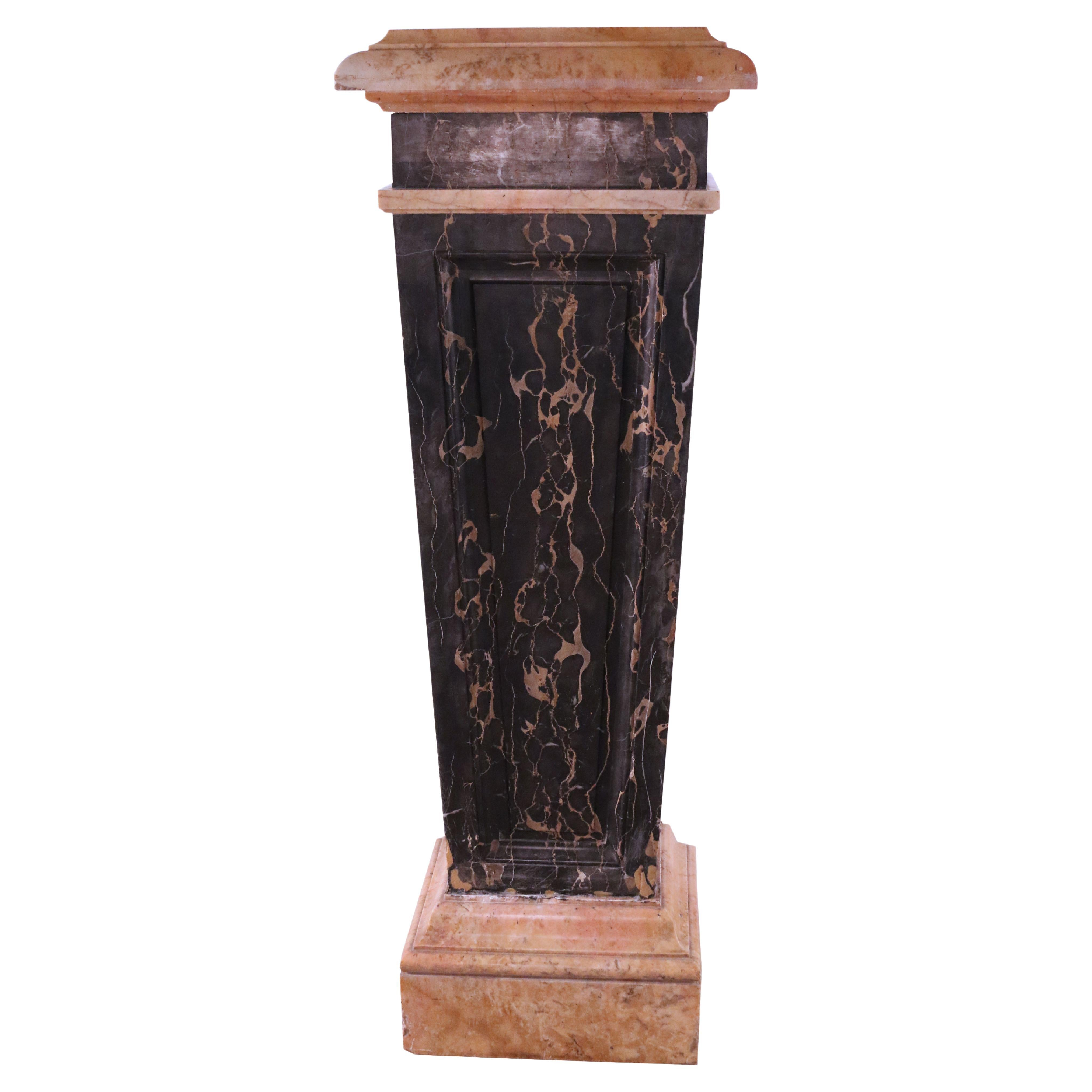 French Empire Style Solid Black and Beige Marble Pedestal