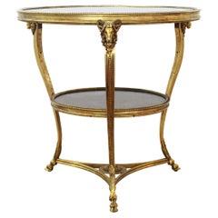 French Empire Style 'Tete de Belier' Ormolu & Black Marble Gueridon Table