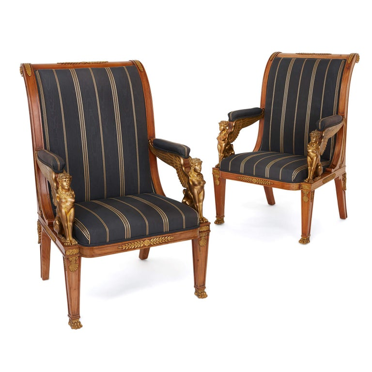 Gilt French Empire Style Three-Piece Salon Suite For Sale