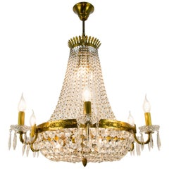 French Empire Style Twelve-Light Crystal Basket Chandelier