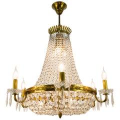 French Empire Style Twelve-Light Crystal Basket Chandelier