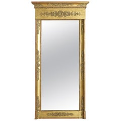 French Empire Tall Carved Gitwood and Gilt-Gesso Mirror