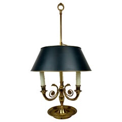 French Empire Bouillotte Lamp in Bronze with Black Tole Shade-Three-Light